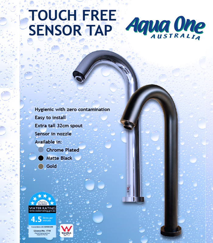 Touch Free Sensor Tap available in Chrome, Matt Black and Gold at Aqua One Australia, Brisbane
