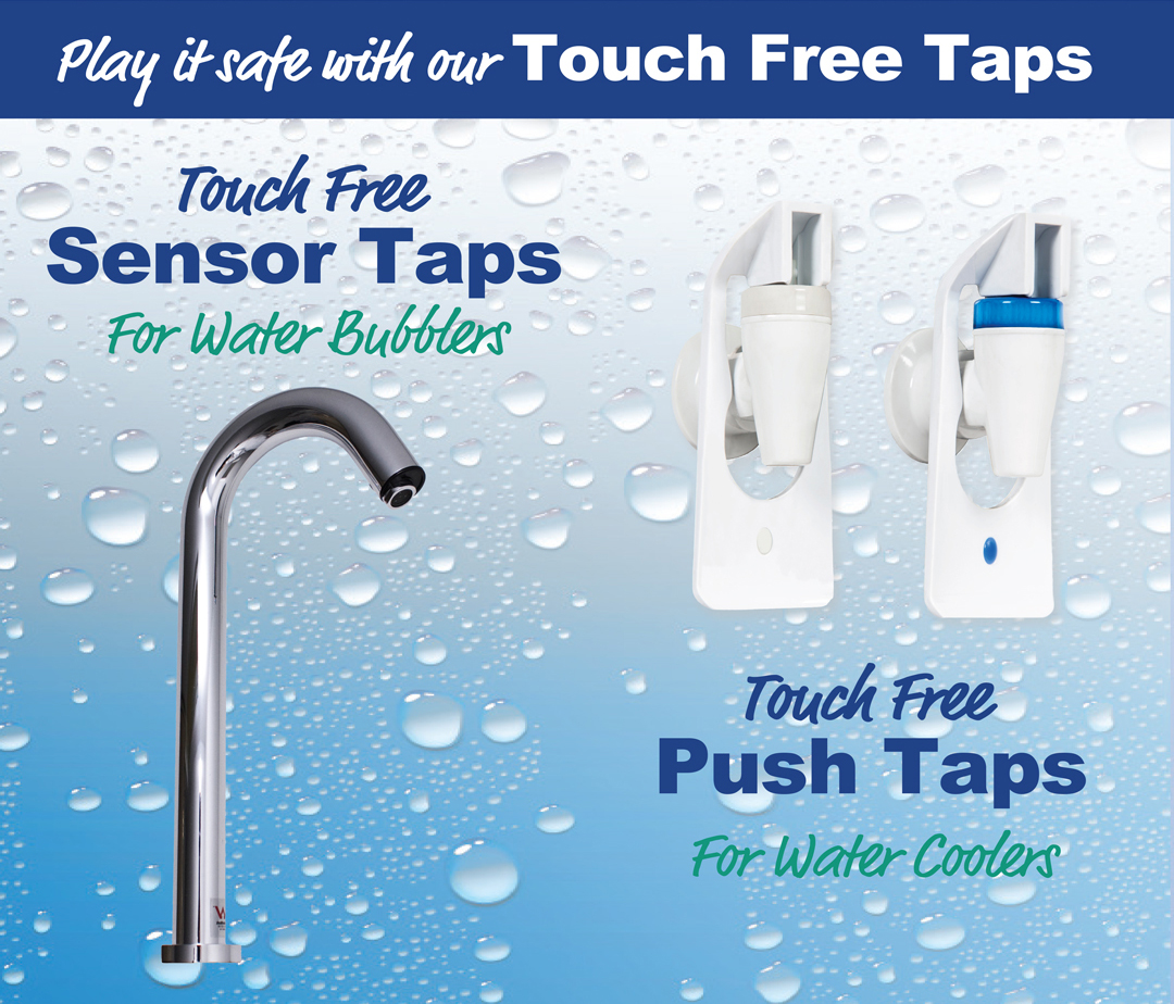 Touch Free Sensor Taps for Bubblers and Push Taps for Water Coolers from Aquaone Australia Brisbane